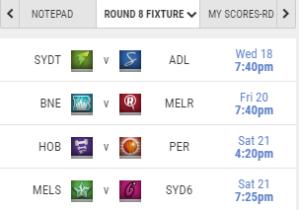 Round 8 Fixture